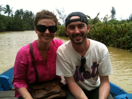 Lily and Brad, somewhere down the Mekong