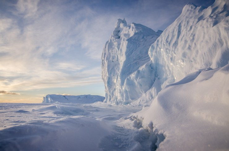Iceberg trapped in sea ice