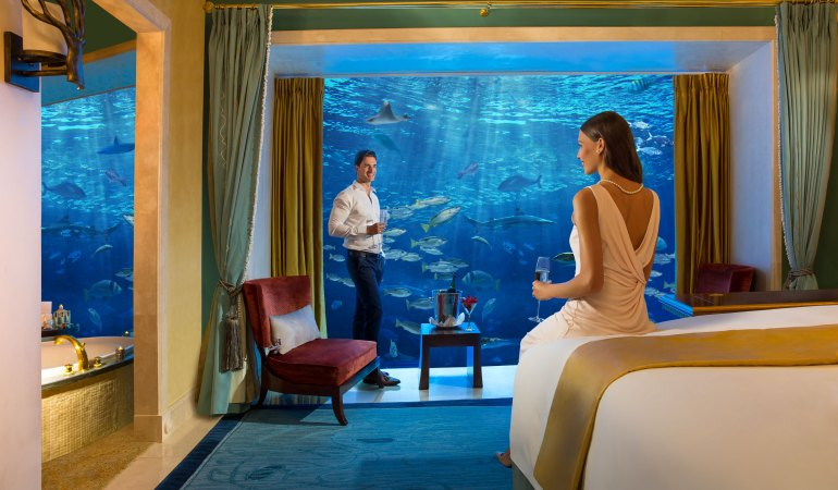 Have a romantic stay at Underwater Suite at Atlantis The Palm.