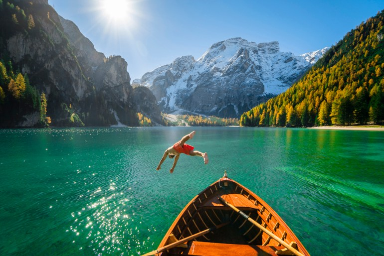 Plunging in the Italian Dolomites, Lago de Brailes.