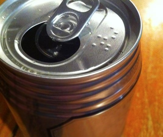 Braille on a beer can