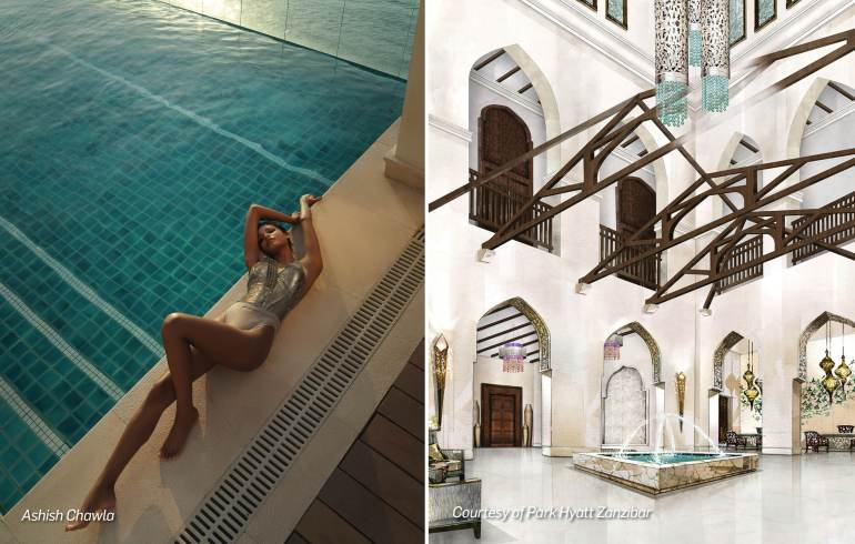 On the poolside at the Park Hyatt Zanzibar. On her: Sequinned swimsuit, Cue by Rohit Gandhi+Rahul Khanna. The courtyards and interiors of Mmabo Msiige seamlessly blend Arab and Zanzibari architecture and design with the more contemporary sensibilities of a Park Hyatt.