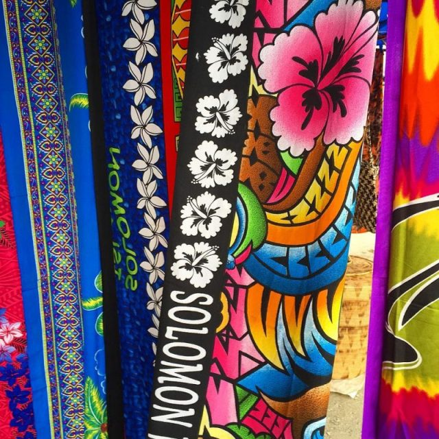 Colours of the Solomons  sarongs on display in downtownhellip