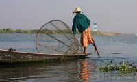 An Intha fisherman outside the Inle Lake canal leading to Nyaungshwe.
