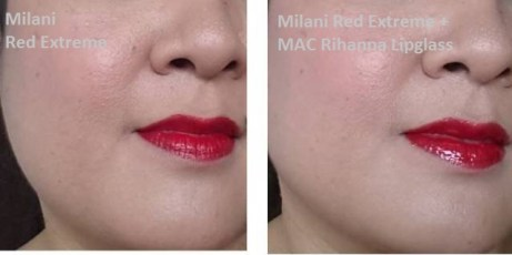 Milani Lip Intense Red Extreme topped with MAC Viva Glam Rihanna Lipglass