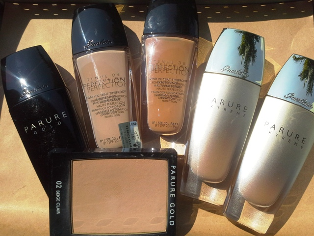 Guerlain foundations (left to right): Parure Gold, Tenue de Perfection, Parure Extreme