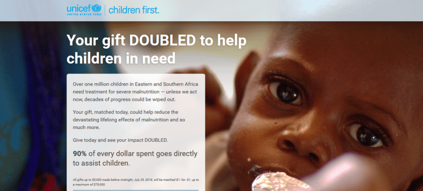 UNICEF double deal july 2016