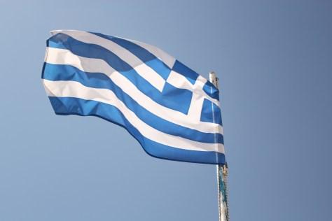 Greek Flag; Mykonos Island, Greece; 2013