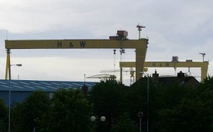 Harland & Wolff's shipyard in Belfast, Northern Ireland, where the Titanic was built.