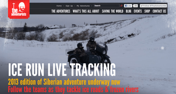 The Adventurists' website in February, 2013.