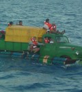 Cuban refugees trying to make it to shore on a converted truck. Photo: US Coast Guard
