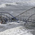 A rollercoaster was drenched by Superstorm Sandy.