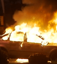 Car burning in Husby where the Stockholm riots erupted.