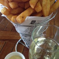 Black Swan sparkling chenin blanc wine from the swan valley perth and beer battered chips with aioli