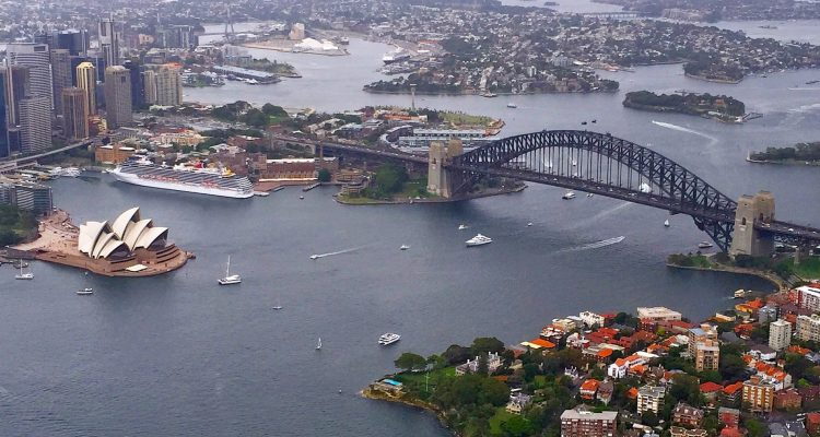 Travelling dietitian sydney harbour helicopter