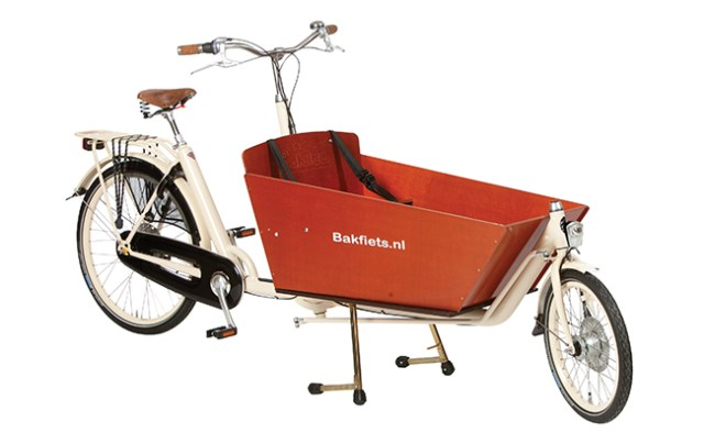 The Bakfiets.nl Cargo Bike is a great way to ferry multiple kids and shopping around town.