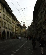 Bern's main street, Spitalgasse Marktgasse with the Zeitglockenturm, an astronomical clock, in the background