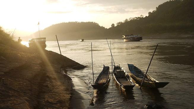 Sunset on the Mekong in Luang Prabang, Laos