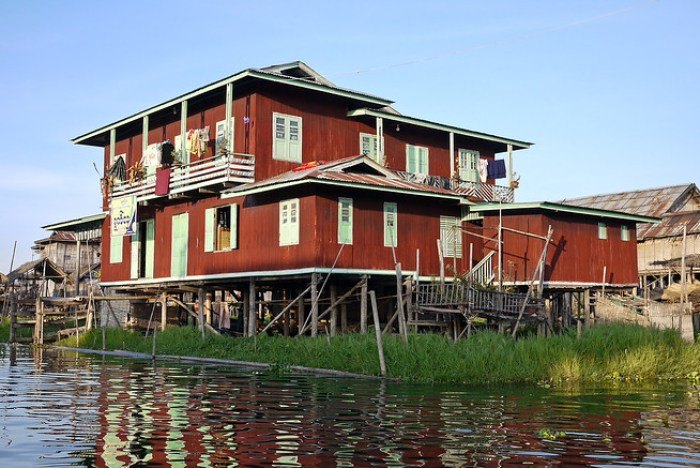 traditional wooden house, Inle Lake