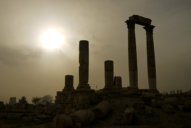 Sunset at the Amman Citadel columns, Jordan