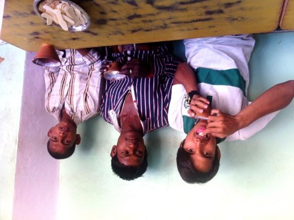 eating lassi at ramnagar