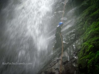 Exhilarating to rappel down a 120 foot waterfall!