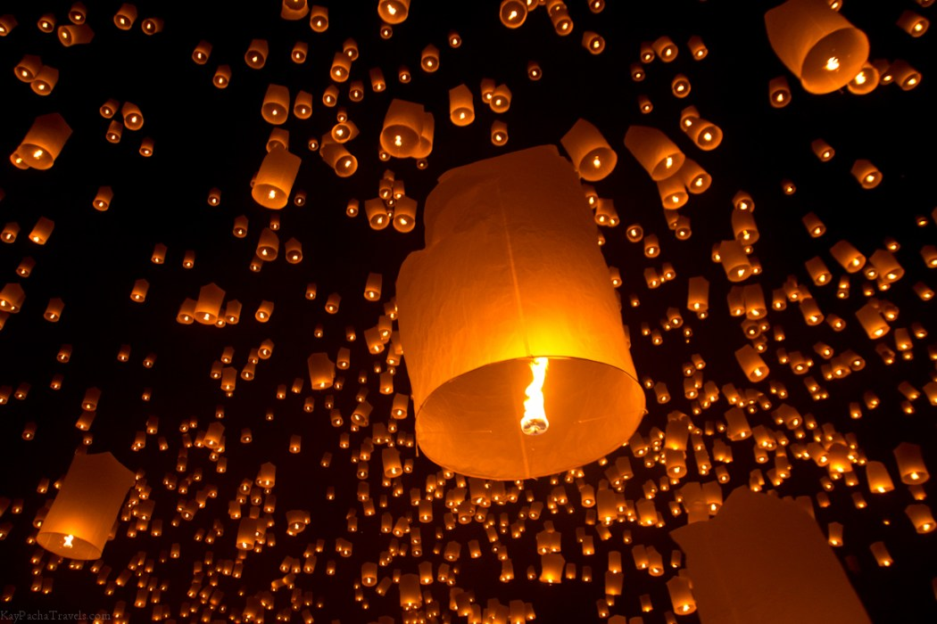 Our lantern floating away to join all the others