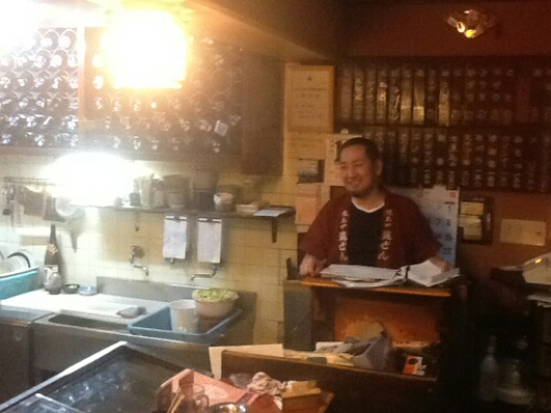 The chef at the yakitori restaurant
