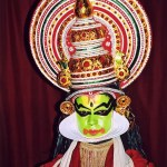 The beautiful costume of a Kathakali dancer