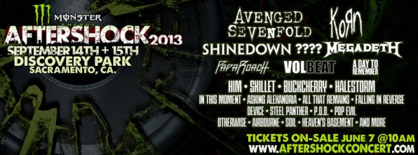 Aftershock Festival 2013 Avenged Sevenfold, Korn To Headline Aftershock Festival