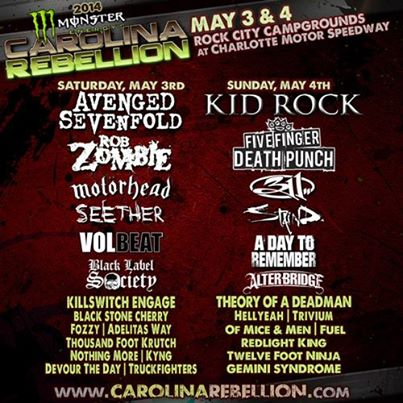 Carolina Rebellion 2014 line up Avenged Sevenfold, Rob Zombie, Five Finger Death Punch And Kid Rock Headline 2014 Carolina Rebellion Festival