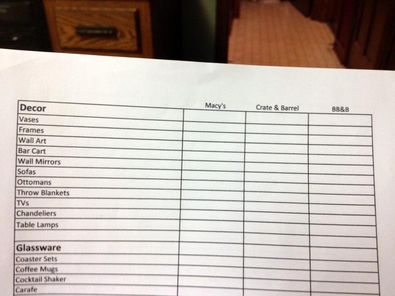 gift registry list 1