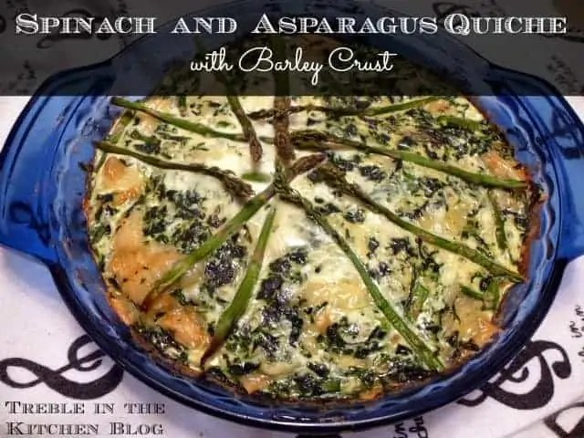 Spinach Asparagus Swiss Quiche text