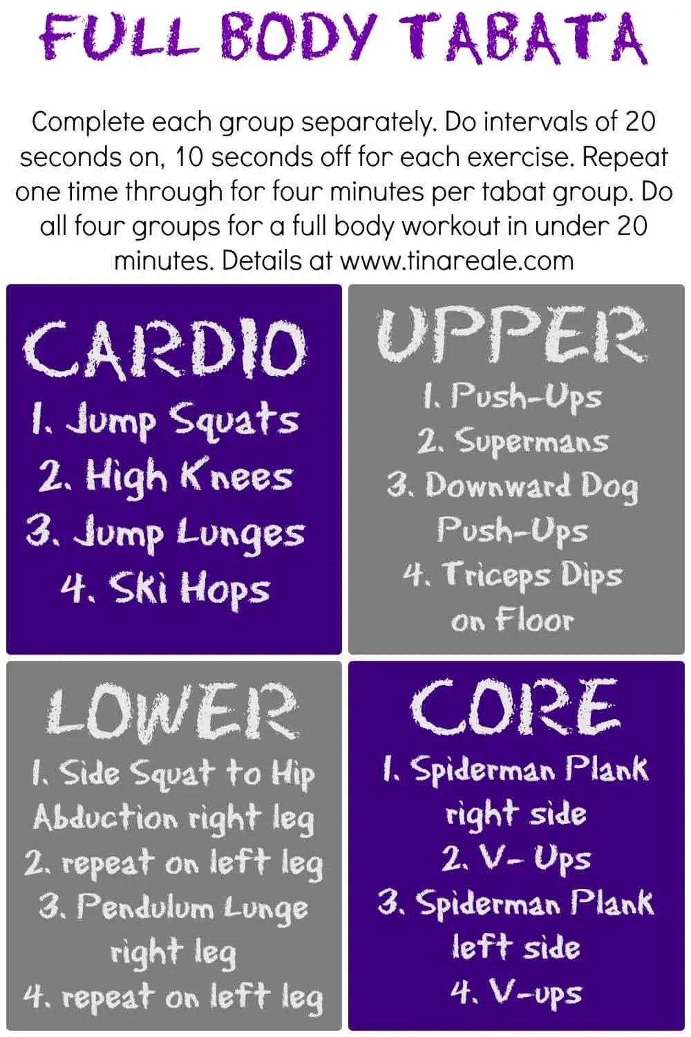 Tabata Workout via Tina Reale