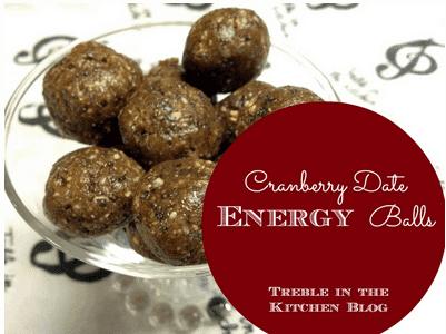 Cranberry Date Energy Balls via Treble in the Kitchen