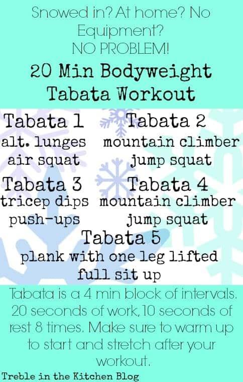 20 min bodyweight tabata workout via treble in the kitchen