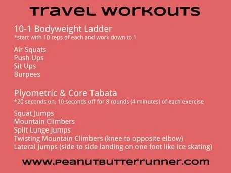 peanut butter runner travel workout