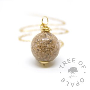 solid gold cremation ash pearl shown with fine weight gold chain (not included) memorial jewellery Tree of Opals