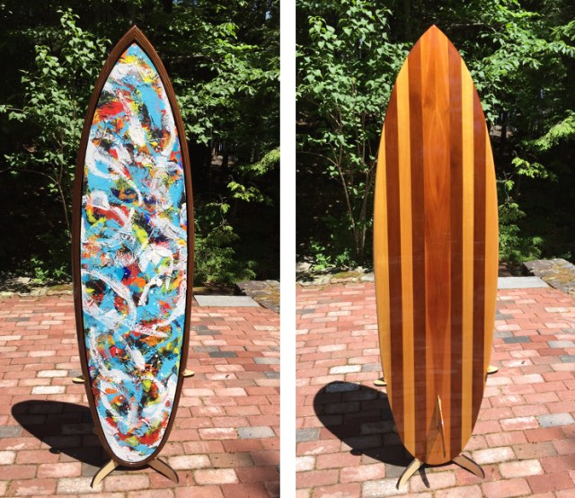 """The painted and wooden sides of """"Pelagic Pulses"""""""