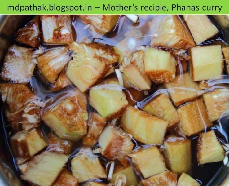 Unripe jackfruit cut into pieces for curry