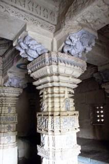 Amruteshwar Temple, interior pillar carvings