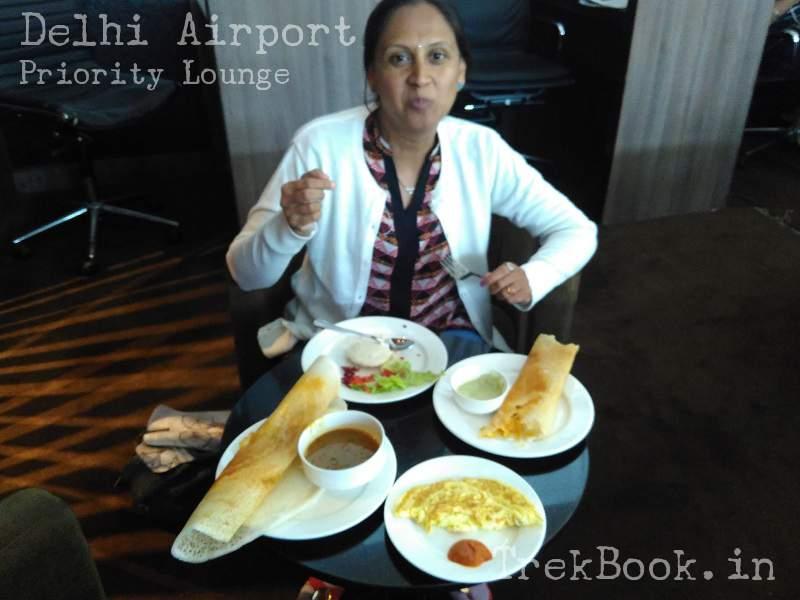 delhi airport priority lounge food