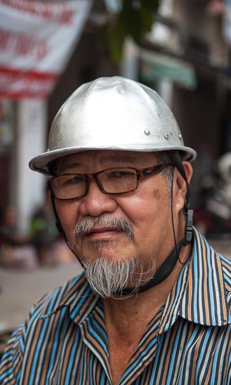 A most unusual helmet is worn by this gentleman