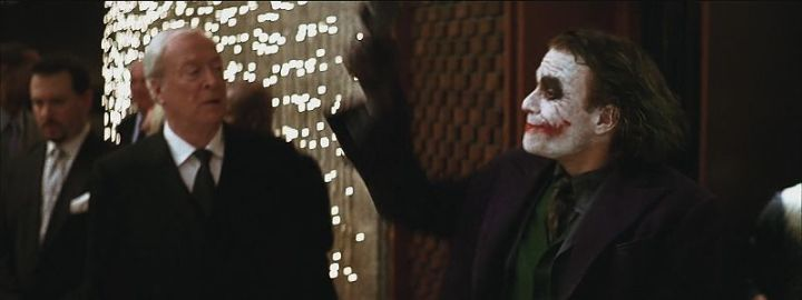 Heath Ledger performing as joker