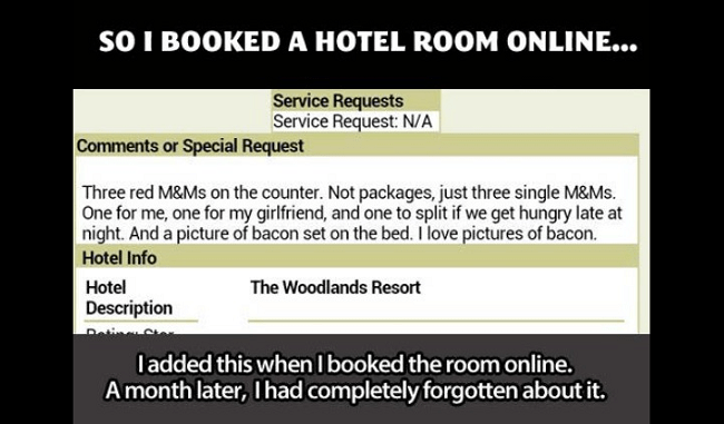 Online hotel booking request