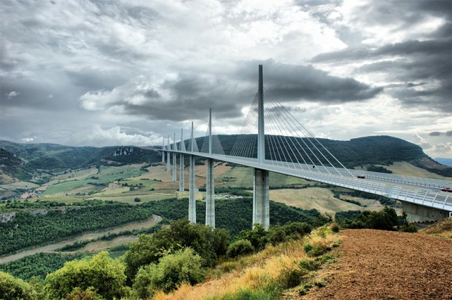 The Millau Viaduct Bridge, near Millau, France