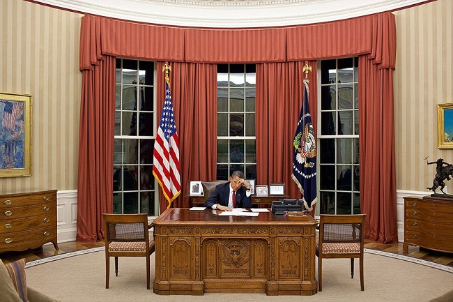 Obama at his office