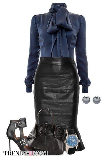 Кожаная юбка с блузкой