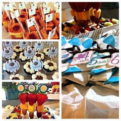 collage of trendy fun party work, cup cakes and napkins