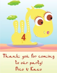 Arabian night kids birthday party wishing cards
